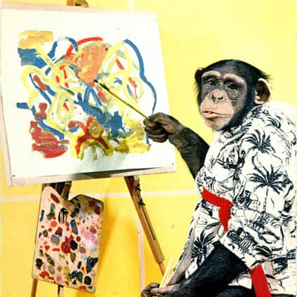 painting chimp